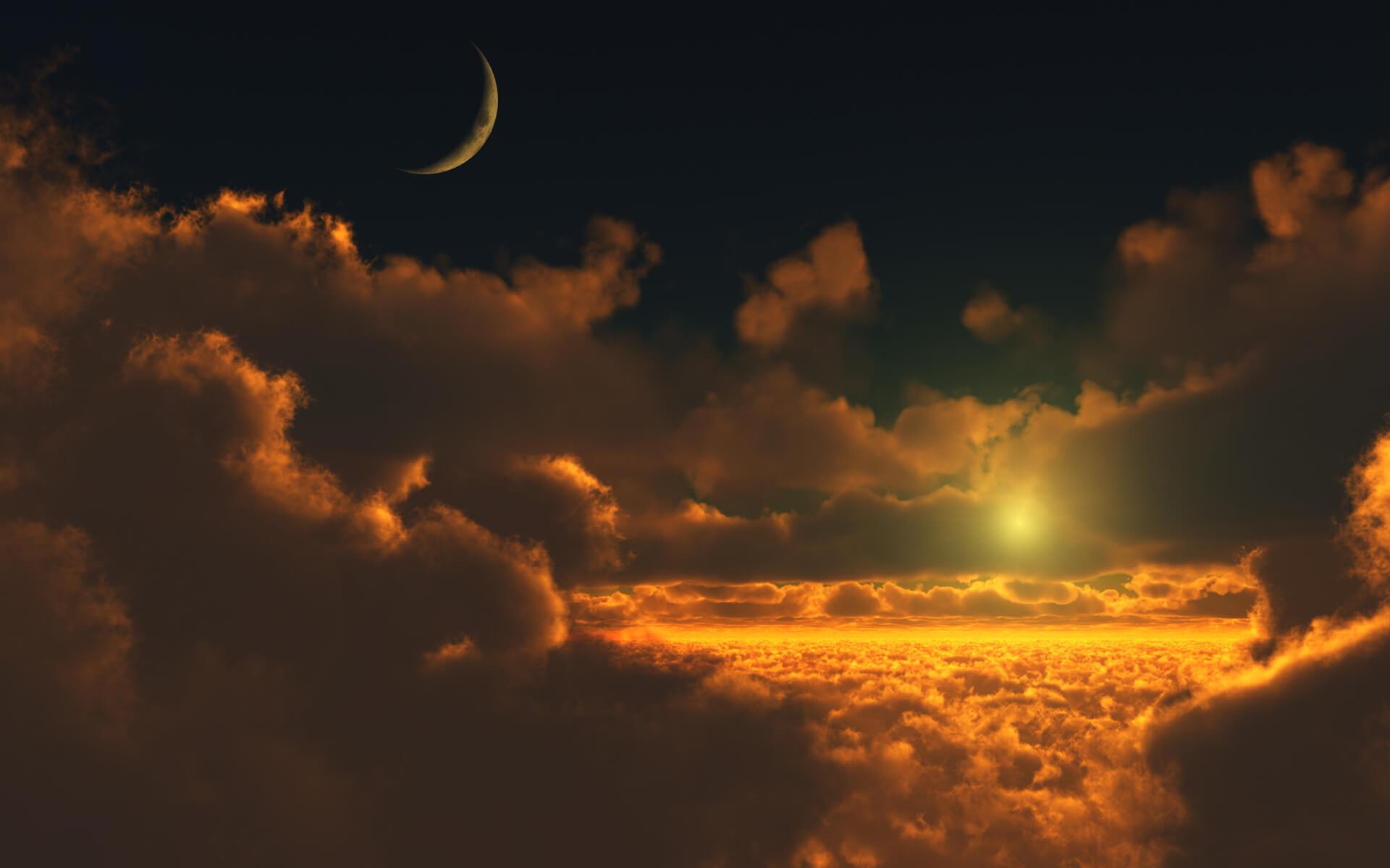 paisagem relaxante com sol e lua